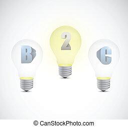 client, business, lumière, deux, illustration, ampoule