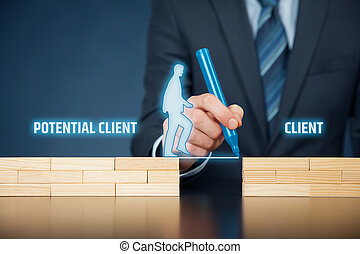 Client - Businessman (client care, client support) helps...