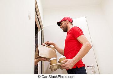 client, café, nourriture, livrer, maison, homme