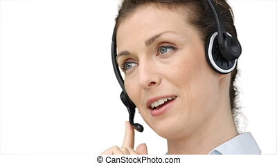 client, casque à écouteurs, femme, parler, utilisation
