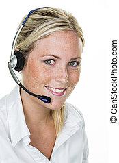client, casque à écouteurs, femme, service
