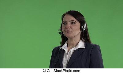 client, casque à écouteurs, prend, service, écran, contre, appel téléphonique, représentant, vert