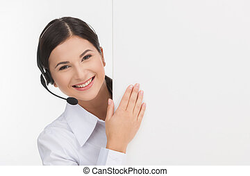 client, casque à écouteurs, service, gai, affiche, jeune, isolé, representative., quoique, représentant, femme, blanc, regarder dehors