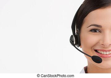 client, casque à écouteurs, service, gai, jeune, isolé, representative., quoique, appareil photo, représentant, femme, portrait, sourire, regarder, blanc, beau