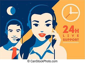 client, casque à écouteurs, soutien, poster., centre, ...