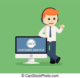 client, centre, service, pc, appeler, homme