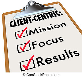 Client Centric Checklist To Do Mission Goals