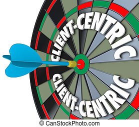 Client-Centric Words Dart Board Targeting Customer Service