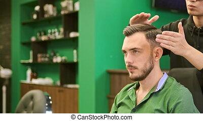 client, chaud, styles, cire, coiffeur, cheveux, sérieux, ...