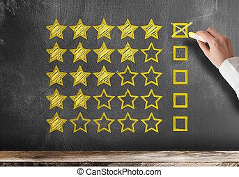 client, classement, étoile, réaction, service, tableau noir, client, cinq, ou