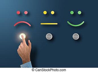 client, classement, concept, service, bouton, triste, toucher, enquête, interface, mécontent, figure