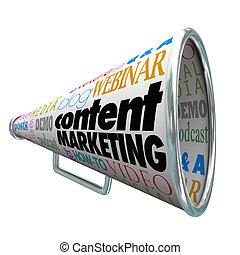 client, commercialisation, dépasser, contenu, audience, bullhorn, porte voix