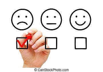 client, concept, enquête, négatif, réaction