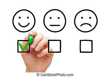 client, concept, enquête, réaction, heureux