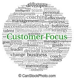 client, concept, mot, foyer, étiquette, nuage