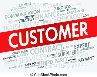 client, concept, mot, nuage, étiquette