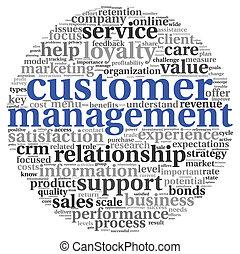 client, concept, mot, service, étiquette, nuage blanc