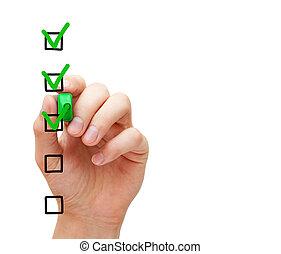 client, concept, service, liste contrôle, enquête, vide