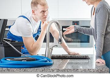 client, conversation, plombier