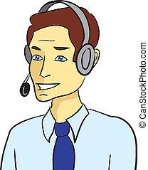 client, conversation, soutien, homme