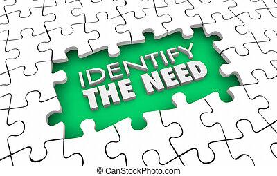 client, désirs, puzzle, illustration, morceaux, identifier, besoin, trou, 3d