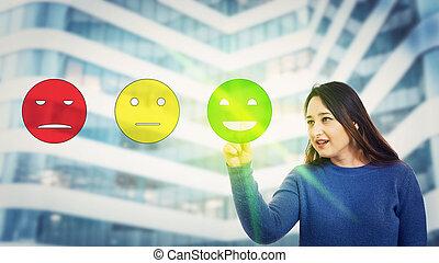 client, donner, réaction, satisfait