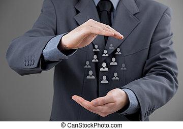 client, employés, concept, ou, soin