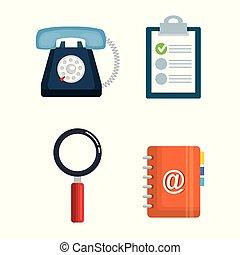 client, ensemble, service, icônes
