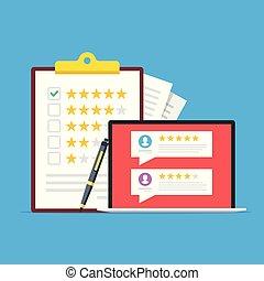client, feedback., vecteur, presse-papiers, classement, ordinateur portable, screen., plat, revue, stylo, étoiles, enquête, illustration, testimonials, checkmark, design.