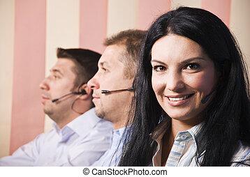 client, femme, amical, équipe, service