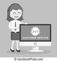client, femme, centre, service, pc, appeler