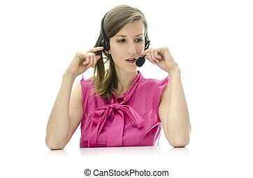 client, femme, représentant service