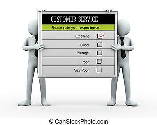 client, formulaire, service, gens, tenue, évaluation, 3d