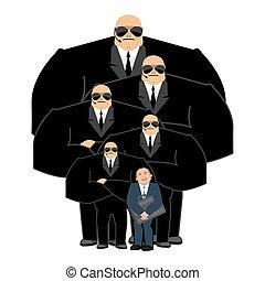 client, fort, homme affaires, bodyguards., hands-free., travail, protection., arrière-plan., vip, protection, noir, équipe, professionnel, sécurité, complet, blanc