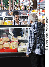 client, fromage, vendeuse, magasin, prise ordre