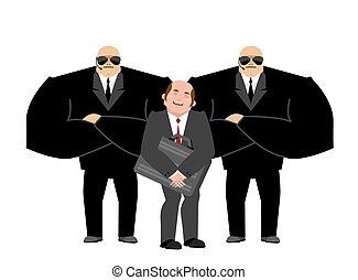 client, garde corps, fort, homme affaires, sécurité, hands-free., travail, protection., arrière-plan., vip, protection, noir, équipe, services, professionnel, blanc, complet, suitcase.