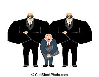 client, garde corps, homme affaires, sécurité, work., hands-free., complet, protection., arrière-plan., vip, protection, noir, équipe, services, professionnel, blanc, fort, suitcase.