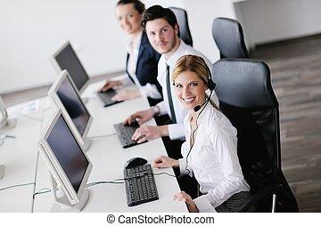 client, groupe, bureau fonctionnant, affaires gens, bureau, aide