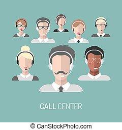 client, headsets., centre, icônes, opérateurs, service, illustration, vecteur, appeler