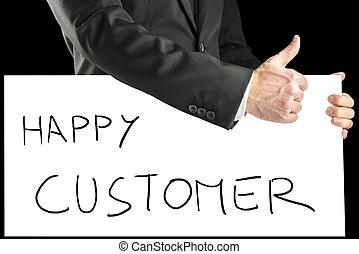 client, homme affaires, heureux, -, signe