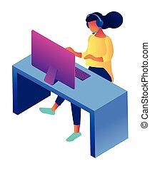client, isométrique, illustration., représentant service, femme, 3d