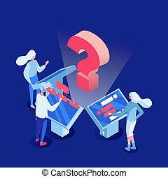 client, isométrique, soutien, directeurs, illustration., fonctionnement, characters., gens, ordinateurs, employés, machine, analytics, vecteur, client, apprentissage, appareil, écran, dessin animé, 3d