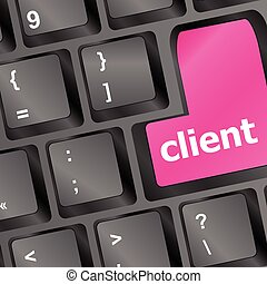 Client key in place of enter key - business concept vector illustration