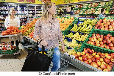 client, magasin, épicerie, regarder, fruits, frais