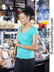 client, magasin, épicerie, téléphone portable, utilisation