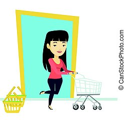 client, magasin, courant, trolley.
