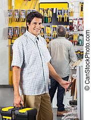 client, magasin, mâle, outils, achat
