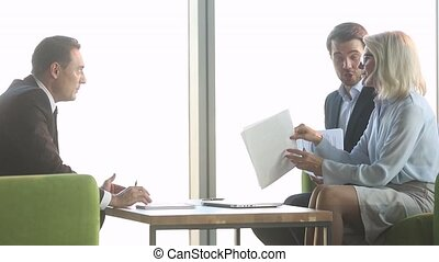 Client make complaints about contract details during meeting...