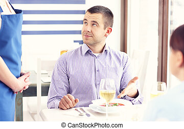 client, malheureux, restaurant