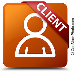 Client (member icon) brown square button red ribbon in corner